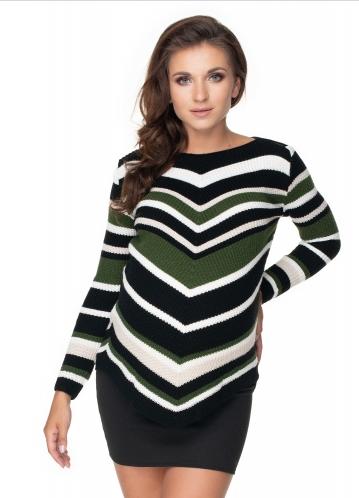 Be Maamaa Dlhši tehotenský sveter khaki- šikmý vzor-UNI