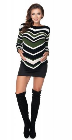 Tehotenský pulóver dlhší khaki- šikmý vzor