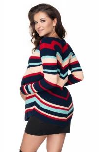 Tehotenský pulóver dlhší granát - šikmý vzor