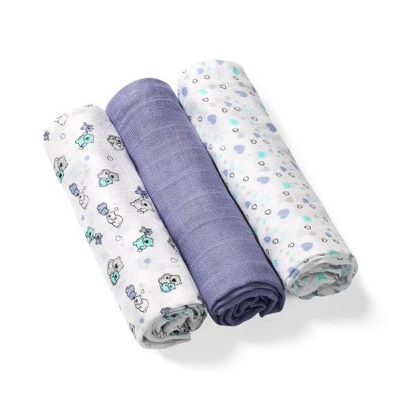 BabyOno Bambusové detské plienky 3 ks - modro/sivá