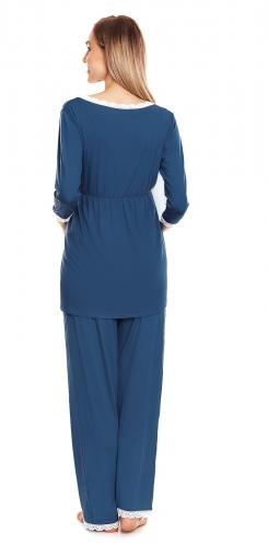 Be Maamaa Tehotenské, dojčiace pyžamo s čipkovaným lemovaním - modré