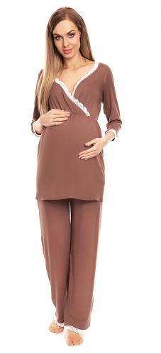 Be Maamaa Tehotenské, dojčiace pyžamo s čipkovaným lemovaním - Cappuccino-#Velikosti těh. moda;S/M