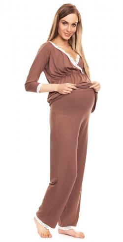 Be Maamaa Tehotenské, dojčiace pyžamo s čipkovaným lemovaním - Cappuccino