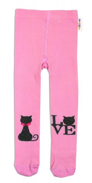 Baby Nellys Bavlnené pančucháče I Love Cat - ružové, veľ. 92/98