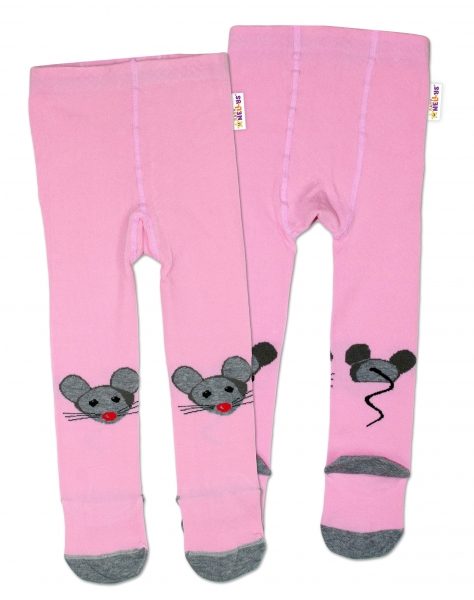 Baby Nellys Bavlnené pančucháče Myšička - ružové, veľ. 92/98-#Velikost koj. oblečení;92/98
