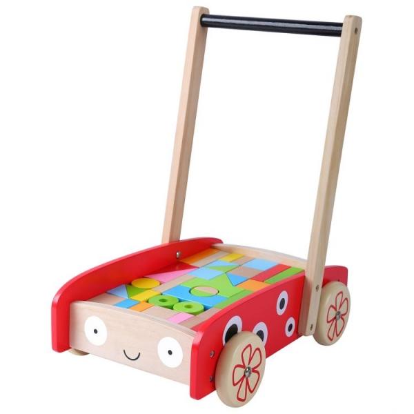 Drevený vozík s drevenými kockami Eo toys - Lienka