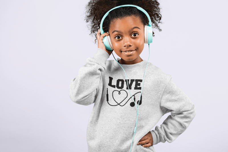 KIDSBEE Stylová detská dievčenská mikina Love Music - sv. šedá