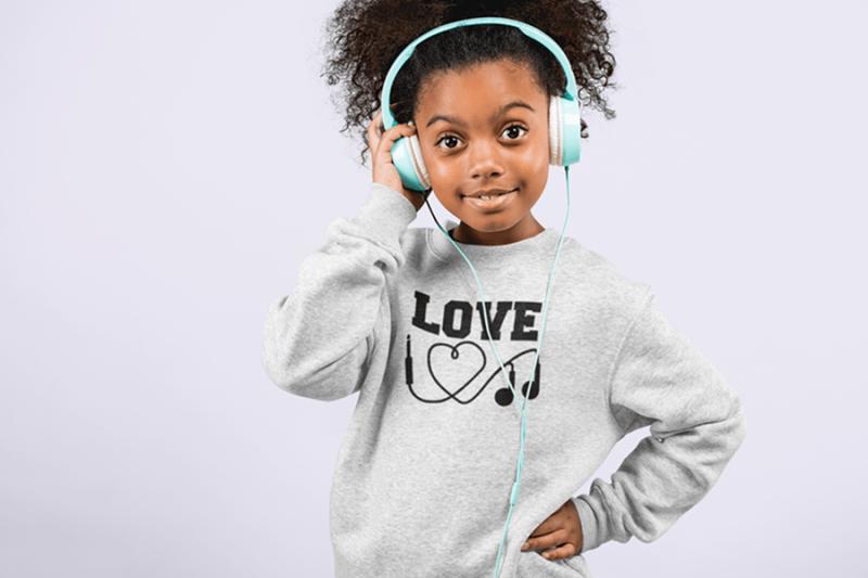 KIDSBEE Stylová detská dievčenská mikina Love Music - sv. šedá, veľ. 110