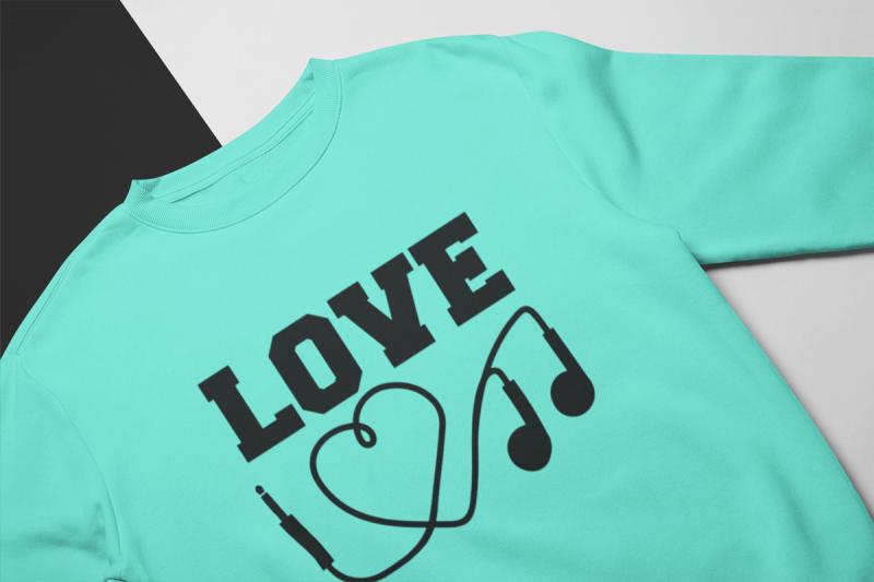 KIDSBEE Stylová detská dievčenská mikina Love Music - mätová