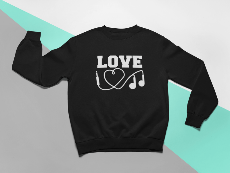 KIDSBEE Stylová detská dievčenská mikina Love Music - čierna, veľ. 134