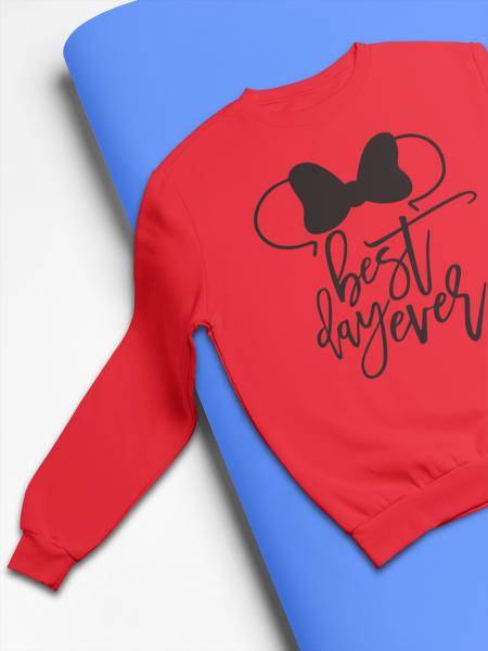 KIDSBEE Stylová detská dievčenská mikina Best day ever, červená