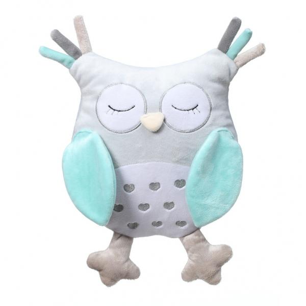 BabyOno Plyšová hračka s hrkálkou Owl Sofia - modrá