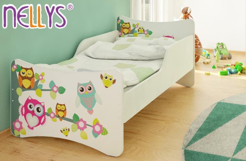 NELLYS Detská posteľ so zábranou Sovy na strome - 180x90 cm