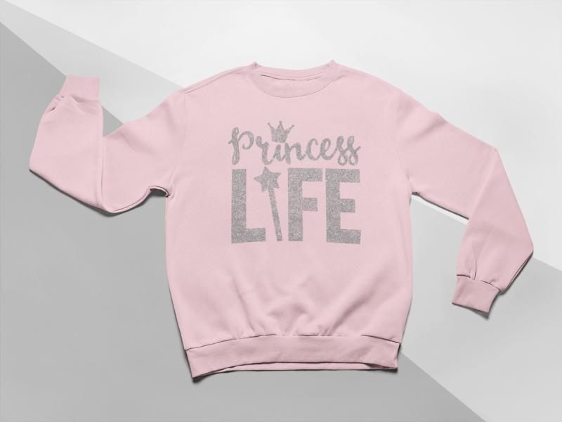 KIDSBEE Moderná detská dievčenská mikina Princess Life - růžová, veľ. 104