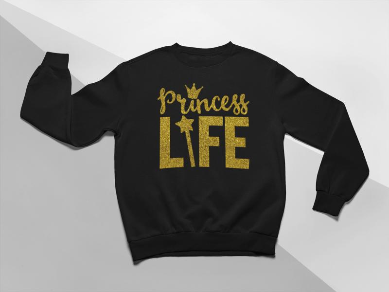 KIDSBEE Moderná detská dievčenská mikina Princess Life - čierna, veľ. 110