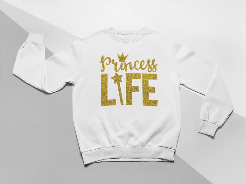 KIDSBEE Moderná detská dievčenská mikina Princess Life - biela, veľ. 122