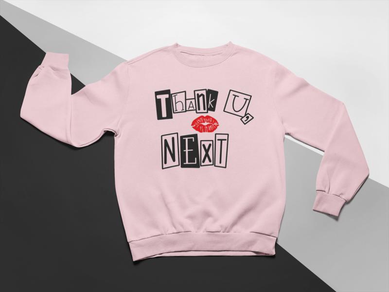 KIDSBEE Moderná detská dievčenská mikina Thank You Next - růžová