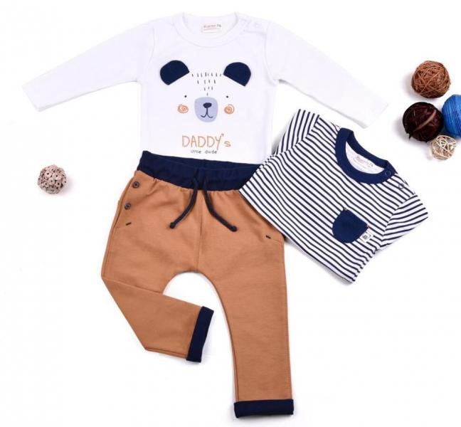 K-Baby Sada 2 x body dl. rukáv + 1 x tepláčky, Medvedík, biela/prúžok/hnedá