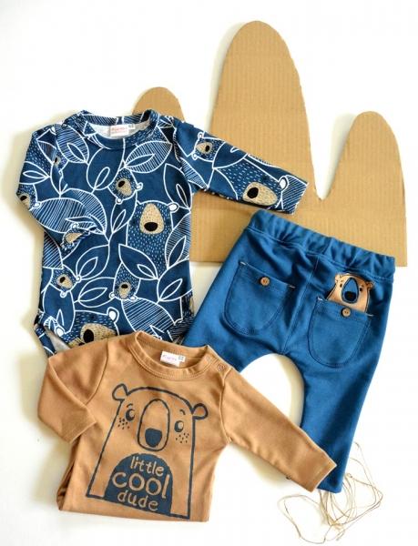 K-Baby Sada 2 x body dl. rukáv + 1 x tepláčky, Koala, hnedá/granát/jeans, veľ. 62