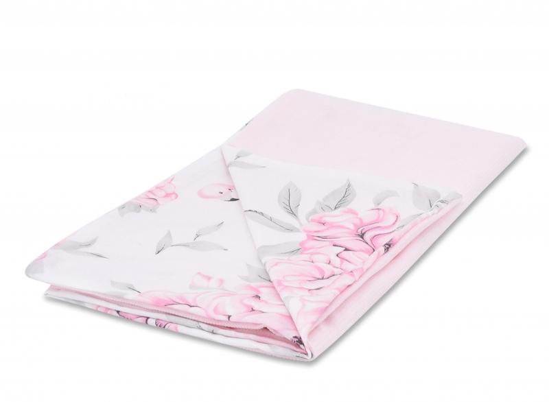 Baby Nellys Luxusná dečka Velvet 100 x 75 cm - Plameniak ružový