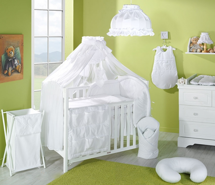 Luxusný mega set komplet s moskytiérou - Srdiečko biele