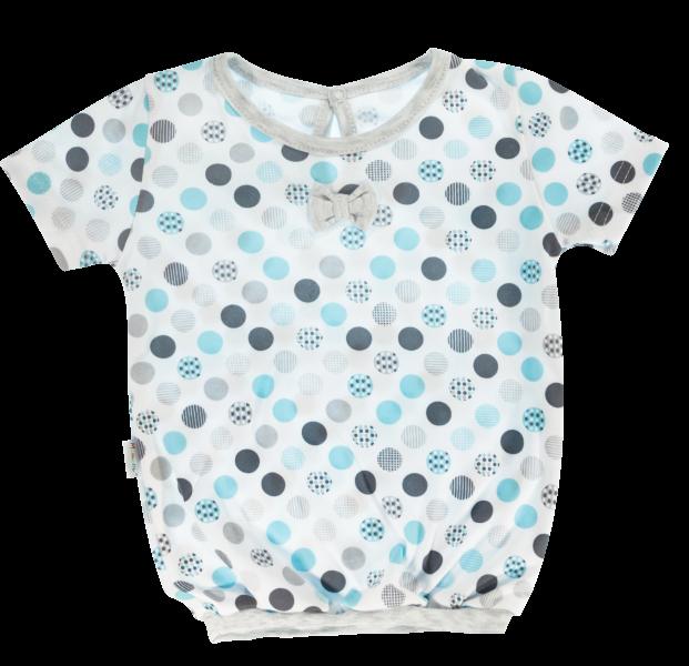 Bavlnená blúzka Mamatti Bubble Boo - krátky rukáv - sivá/tyrkys veľ. 74