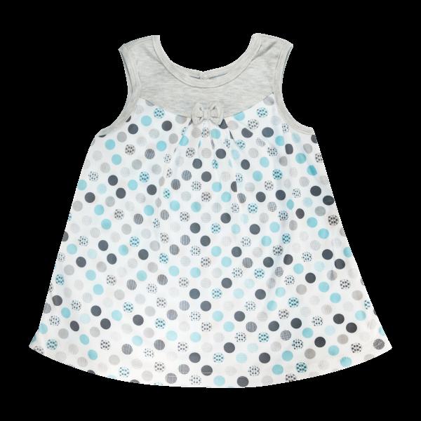 Bavlnené šatičky Mamatti na ramienka Bubble Boo - sivé/tyrkys, veľ. 104