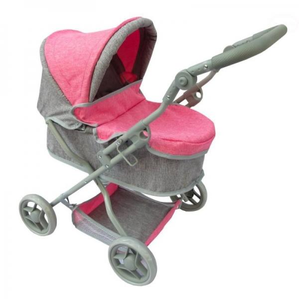 Hlboký kočík pre bábiky Euro Baby - ružovo/sivý