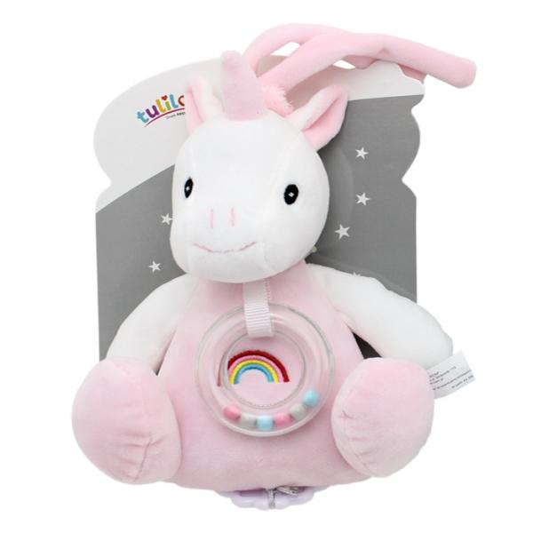 Závesná plyšová hračka Tulilo s melódiou a hrkálkou Jednorožec, 18 cm - ružový