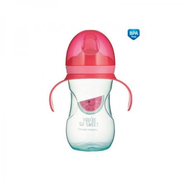 Tréningový hrnček Canpol Babies s úchytmi So Cool - ružový, 270 ml