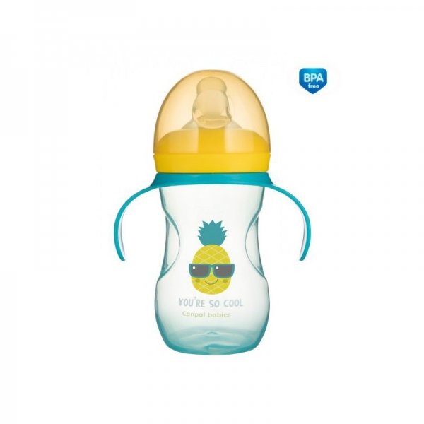 Tréningový hrnček Canpol Babies s úchytmi So Cool - tyrkysový, 270 ml
