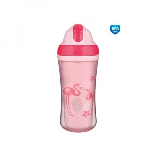 Canpol babies Športová fľaša sa slamkou Plameniaky - ružová, 260 ml