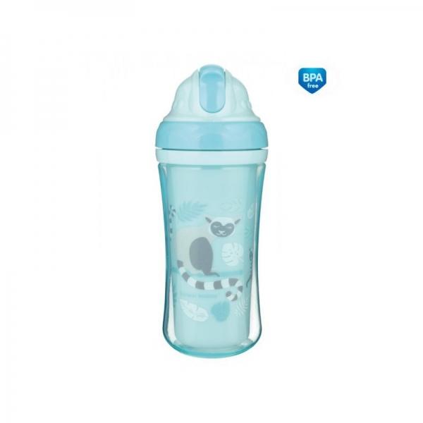Canpol babies Športová fľaša sa slamkou Lemury - modrá, 260 ml
