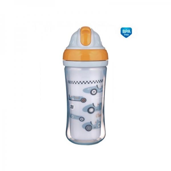 Canpol babies Športová fľaša sa slamkou Racing - sv. modrá, 260 ml