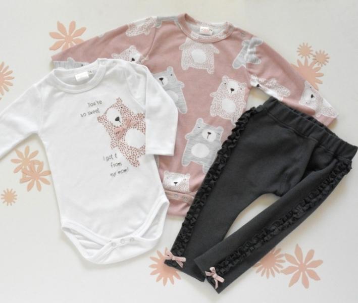 K-Baby Sada 2 x body dl. rukáv + 1 x tepláčky, Medvedík, biela /púder. ružová /grafit, veľ. 62