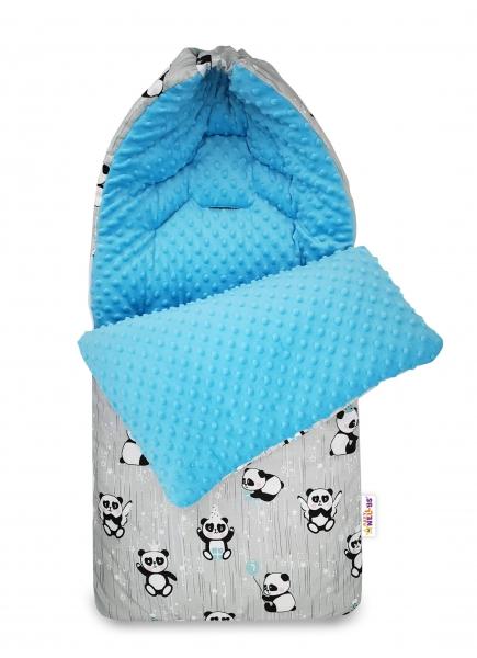 Bavlnený fusak Baby Nellys, minky, Happy Panda, 45 x 95 cm - šedá/minky modrá
