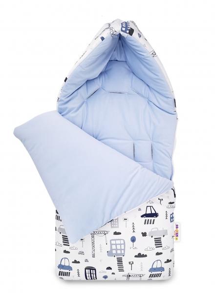 Bavlnený fusak Baby Nellys, velvet, Mesto, 47 x 95 cm - modrý