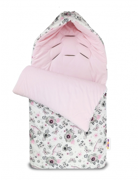 Bavlnený fusak Baby Nellys, velvet, Vtáčiky, 47 x 95 cm - ružový