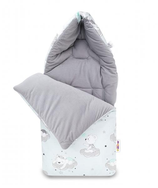 Bavlnený fusak Baby Nellys, velvet, Mráčik, 47 x 95 cm - sivá/mätová