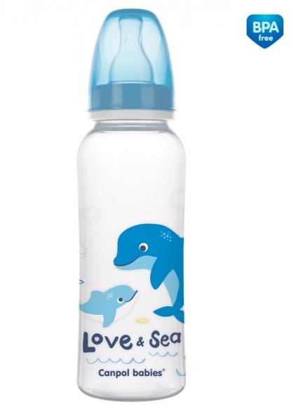Canpol babies Fľaštička s potlačou 250 ml Love & Sea - modrá
