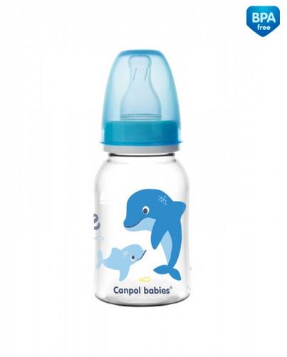 Canpol babies Fľaštička s potlačou 120 ml Love & Sea - modrá