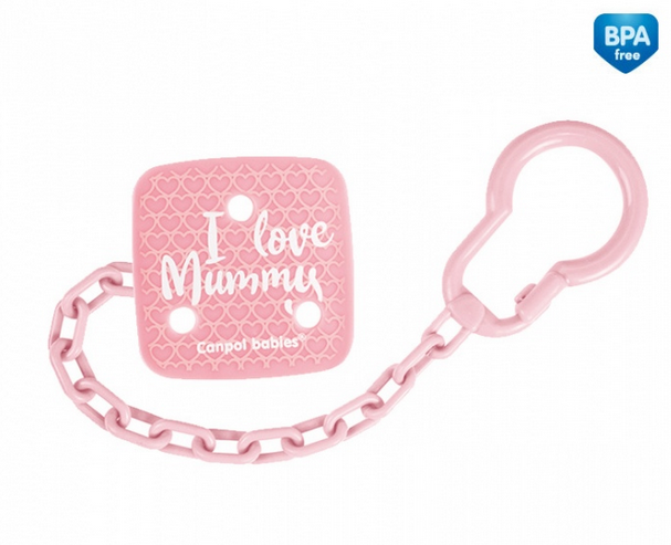 Canpol babies Retiazka na cumlík I Love Mummy - ružový