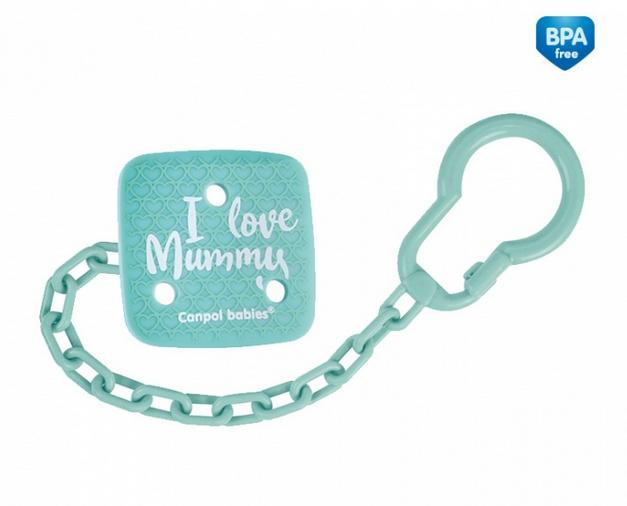 Canpol babies Retiazka na cumlík I Love Mummy - mätový
