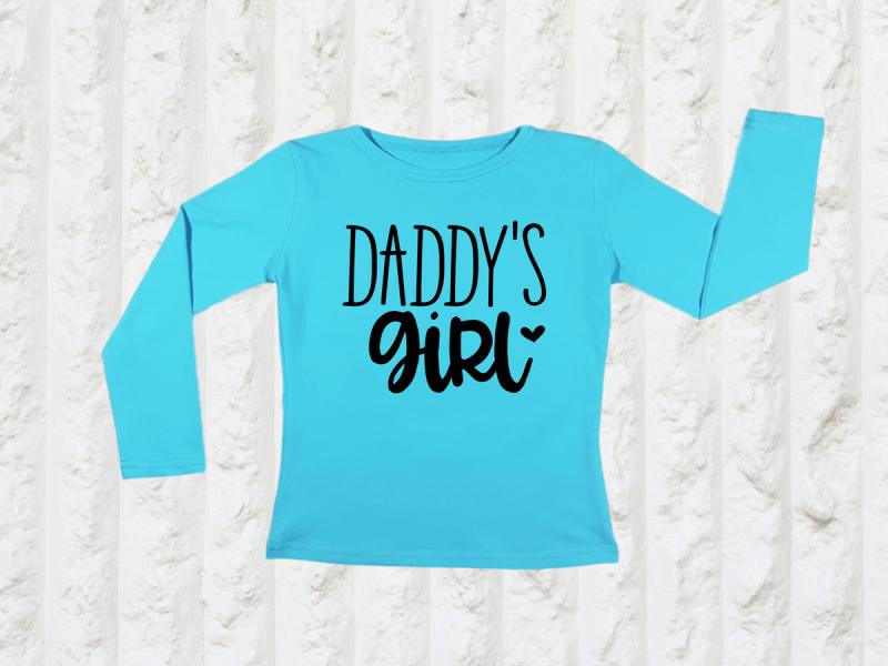 KIDSBEE Dievčenské bavlnené tričko Daddy's Girl - tyrkysové, veľ. 110