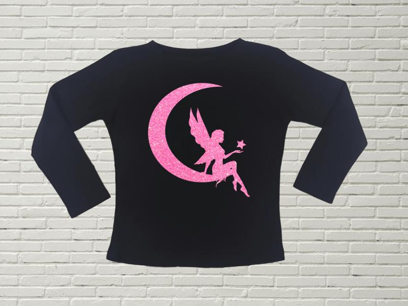 KIDSBEE Dievčenské bavlnené tričko Fairy - čierne, veľ. 104