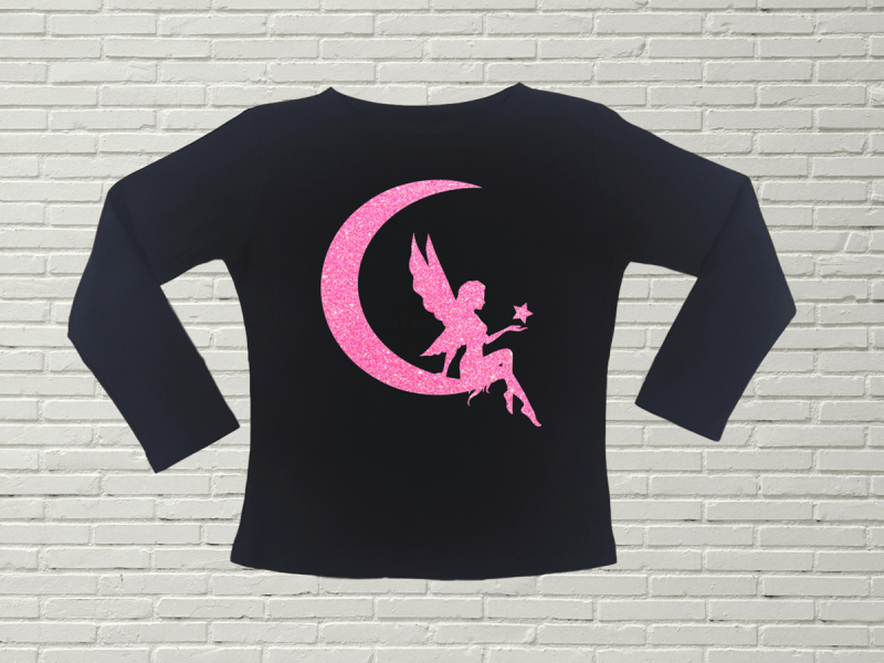 KIDSBEE Dievčenské bavlnené tričko Fairy - čierne, veľ. 140
