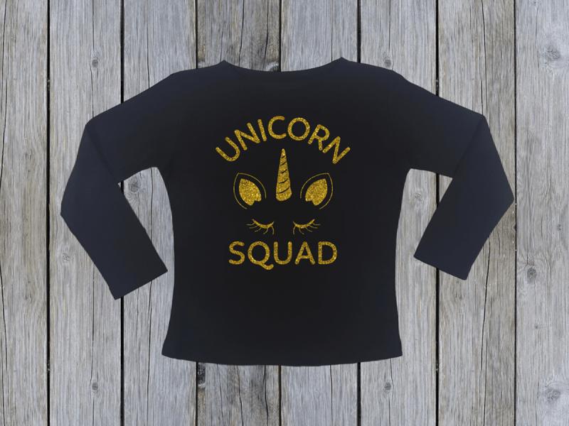 KIDSBEE Dievčenské bavlnené tričko Unicorn Squad - čierne, veľ. 110