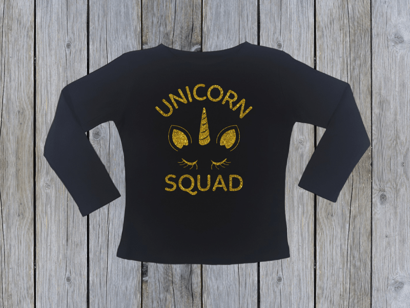 KIDSBEE Dievčenské bavlnené tričko Unicorn Squad - čierne, veľ. 134
