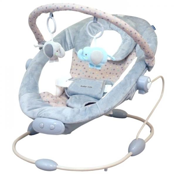 BABY MIX Lehátko pre dojčatá s vibrácií a hudbou - sivé