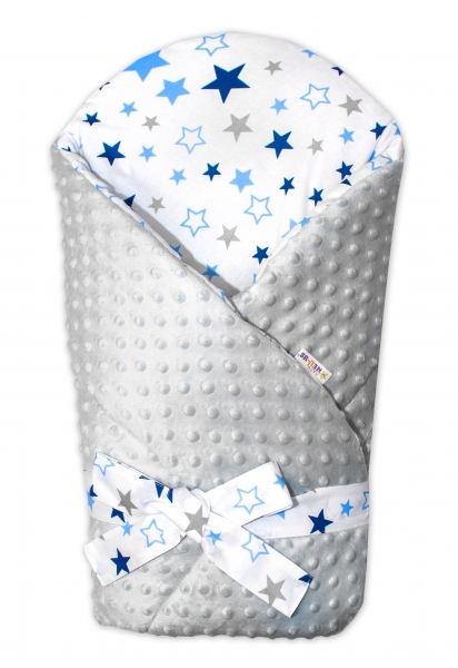 Zavinovačka Minky Baby Nellys Hviezdy a hviezdičky - modrá / granát na bielom, šedá